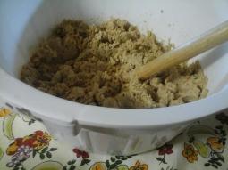 Feijão de soja cozido e amassado